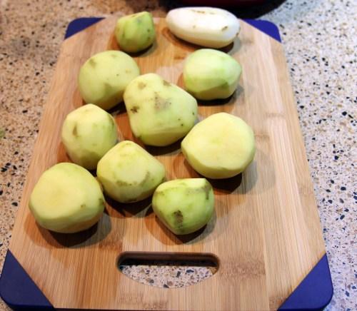 cutting board potatoes