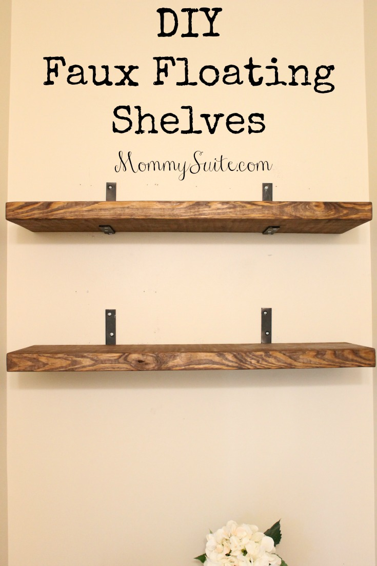 Diy faux floating shelves mommy suite for How to make wall shelves easy