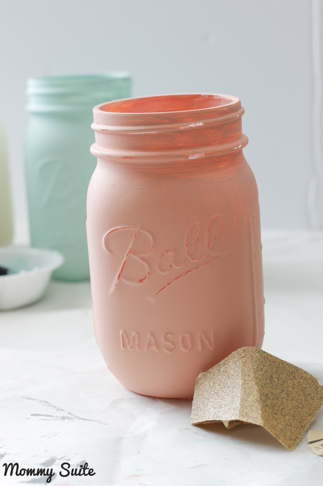 Sanding Chalk Painted Mason Jars
