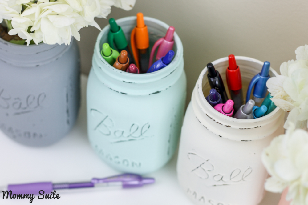 Mason Jar Office Organization