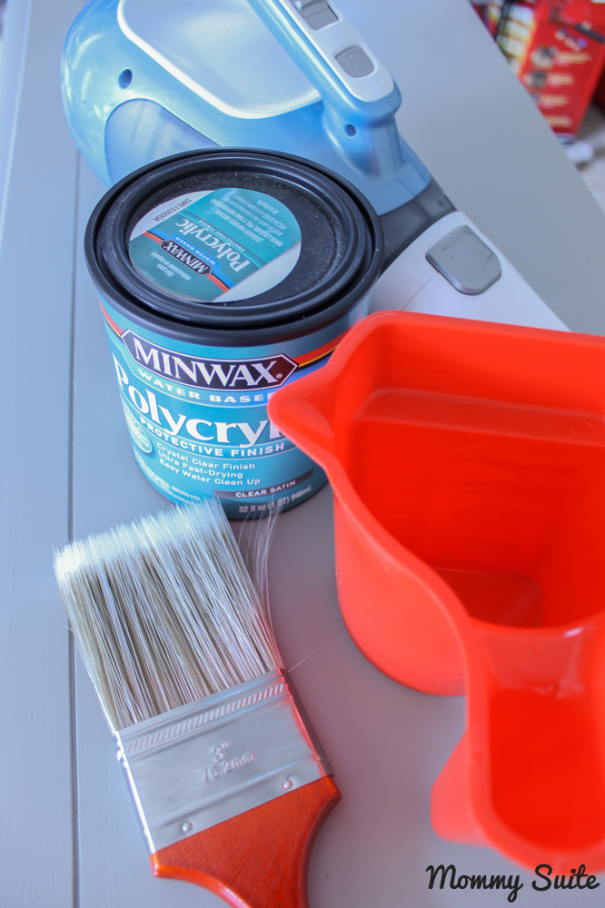 Apply Polycrylic to seal painted furniture
