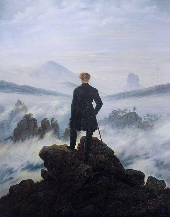 Viandante sul mare di nebbia (Der Wanderer über dem Nebelmeer) - Caspar David Friedrich