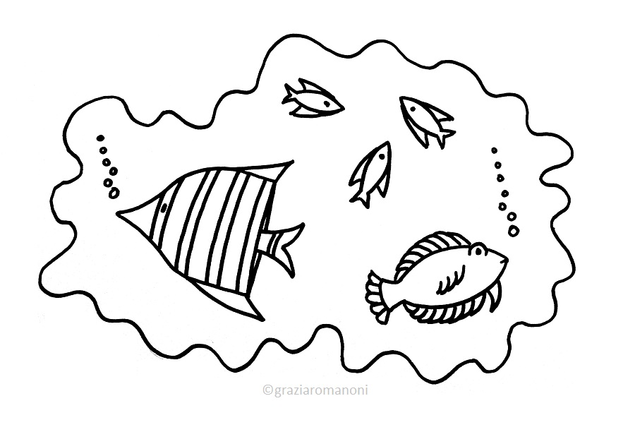 Pesci da colorare d 39 acqua salata e dolce for Disegni di pesci da colorare per bambini