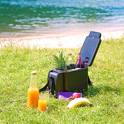 relaxdays mini frigo 6 litres pour 4 bouteilles boissons mini r frig rateur portable avec sangle. Black Bedroom Furniture Sets. Home Design Ideas