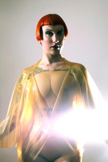 Latex Cocoon Coat, Model: Missy Macabre