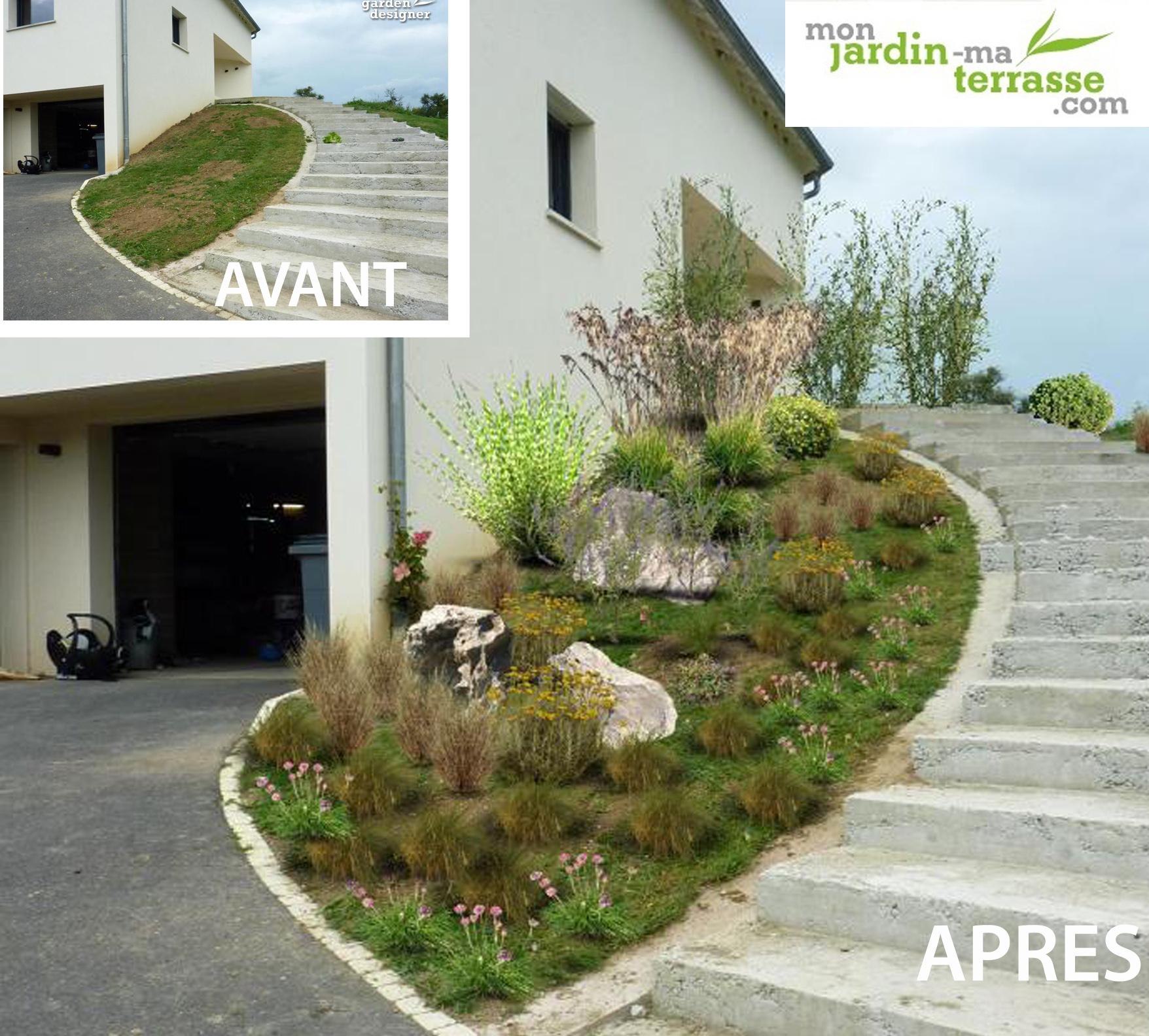 Aménager une entrée de jardin en pente   monjardin-materrasse.com - Aménagement Jardin En Pente