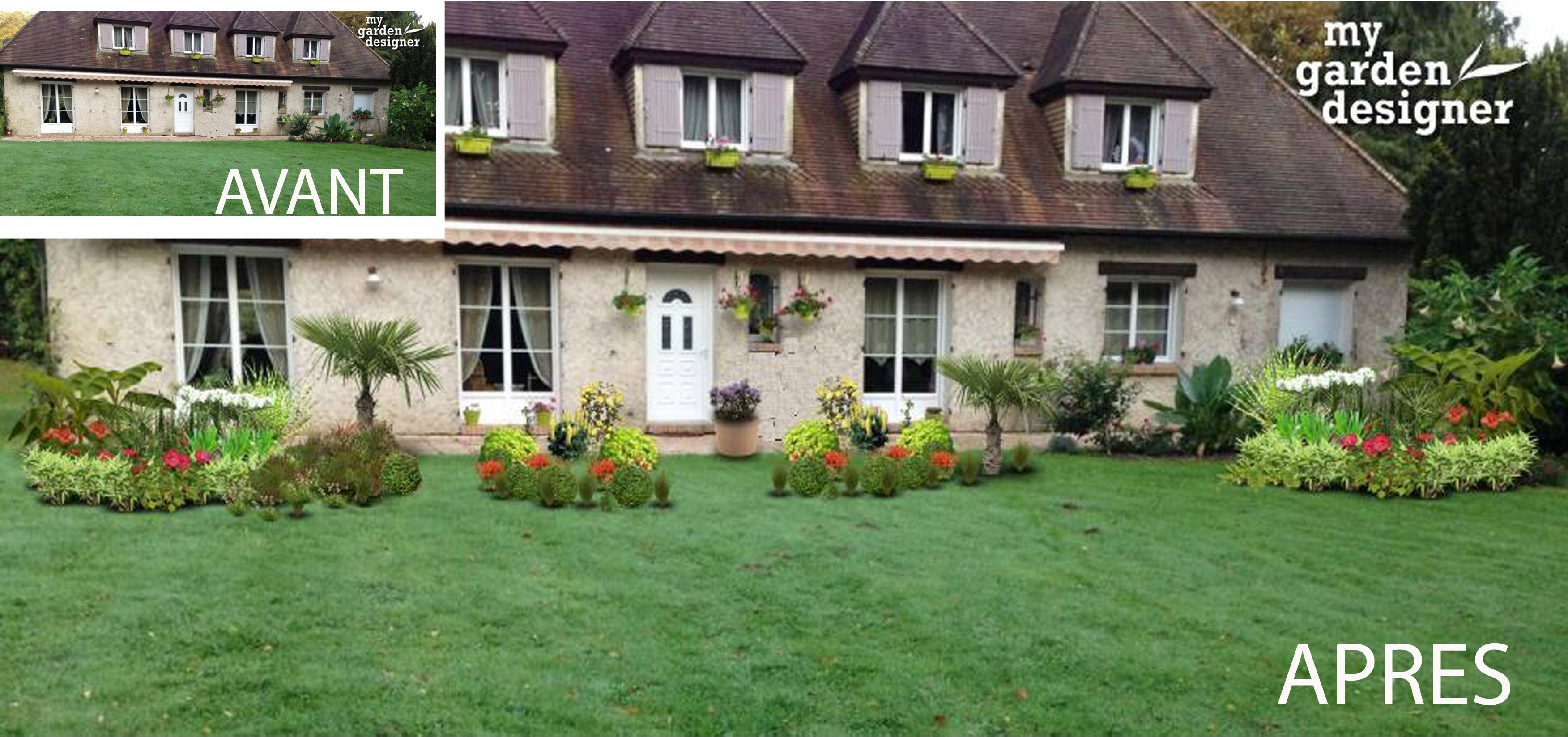 Amenagement d un jardin devant une maison monjardin - Amenagement abords maison ...