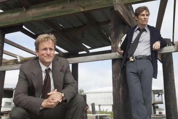 "JIm Bridges/Jim Bridges/HBO - Woody Harrelson and Matthew McConaughey in HBO's ""True Detective."""