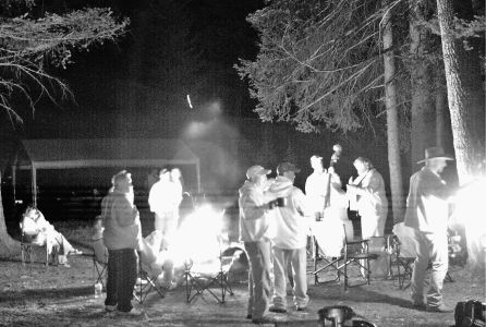 The band was playing                         by the fire, and the party was hoppin!