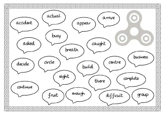 Fidget Spinner Year 3/4 tricky word challenge