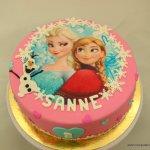 frozen taart roze trio olaf anna elsa