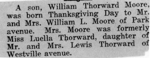 William T Moore birth announcement