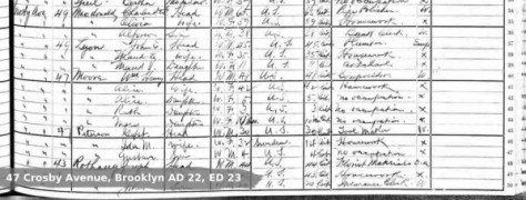 1915 census of New York State, Kings County, New York. Brooklyn AD 22, ED 23, p. 053 (penned), Wm Henry Moore; digital image, Ancestry.com (http://www.ancestry.com).
