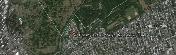47 Crosby Avenue in Google Earth