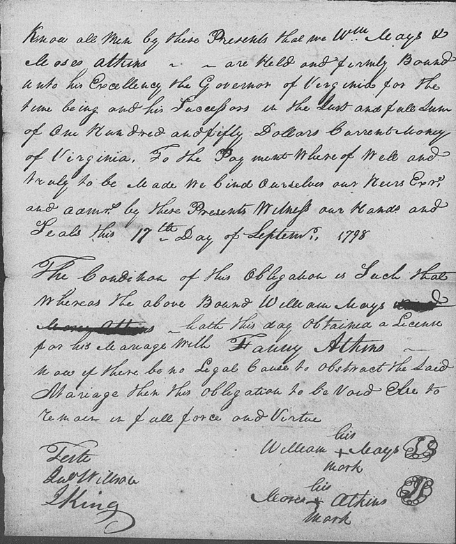 1798 Marriage Bond