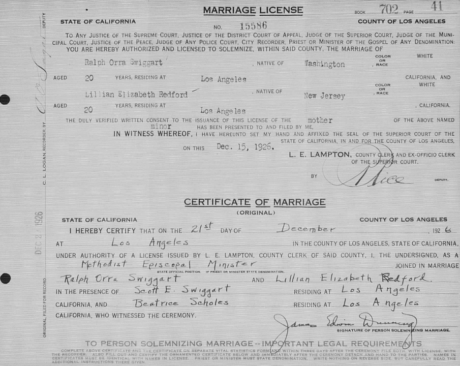 Lillian's Marriage Record