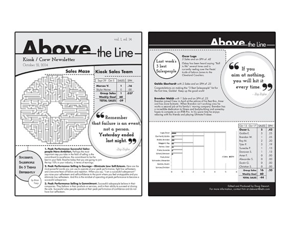 'Above The Line' Sales Team Internal Newsletter