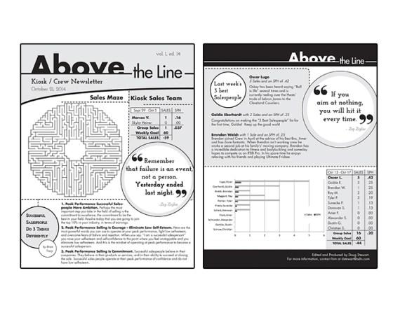 'Above The Line' Sales Team Internal Newsletter