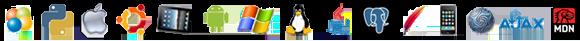 Technology Skill Set Icons such as Python iOS Linux Ajax Macintosh