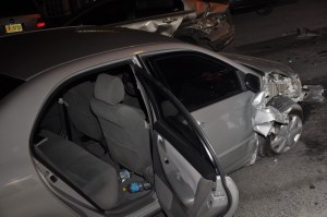 One woman destroyed both of these cars in one night when she used her Toyota Corolla as a battering ram to attack three other women outside Soggy Dollar Bar (MoreBacchanal.com photo!)
