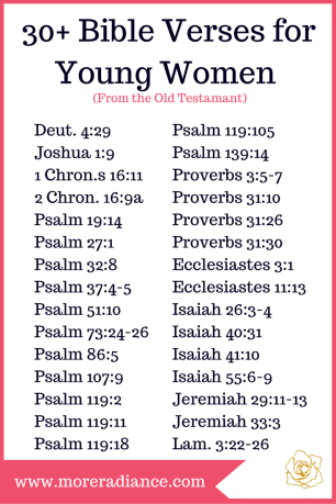 30+ Bible Verses for Young Women (from the Old Testament)