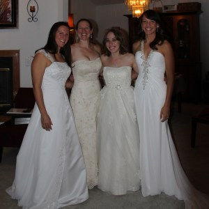 Four of us in our wedding gowns at an anniversary party. Photo courtesy Jessica Hall