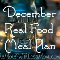 December Real Food Meal Plan