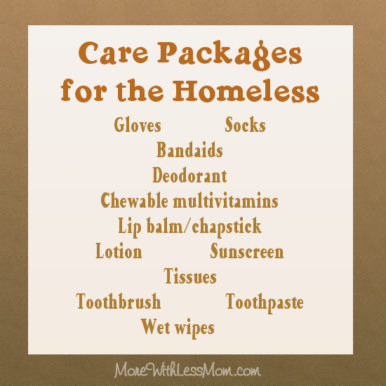 Care Packages for the Homeless (the list)