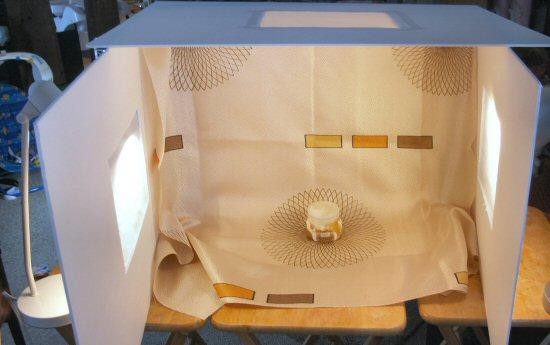 Light box set up for photographs