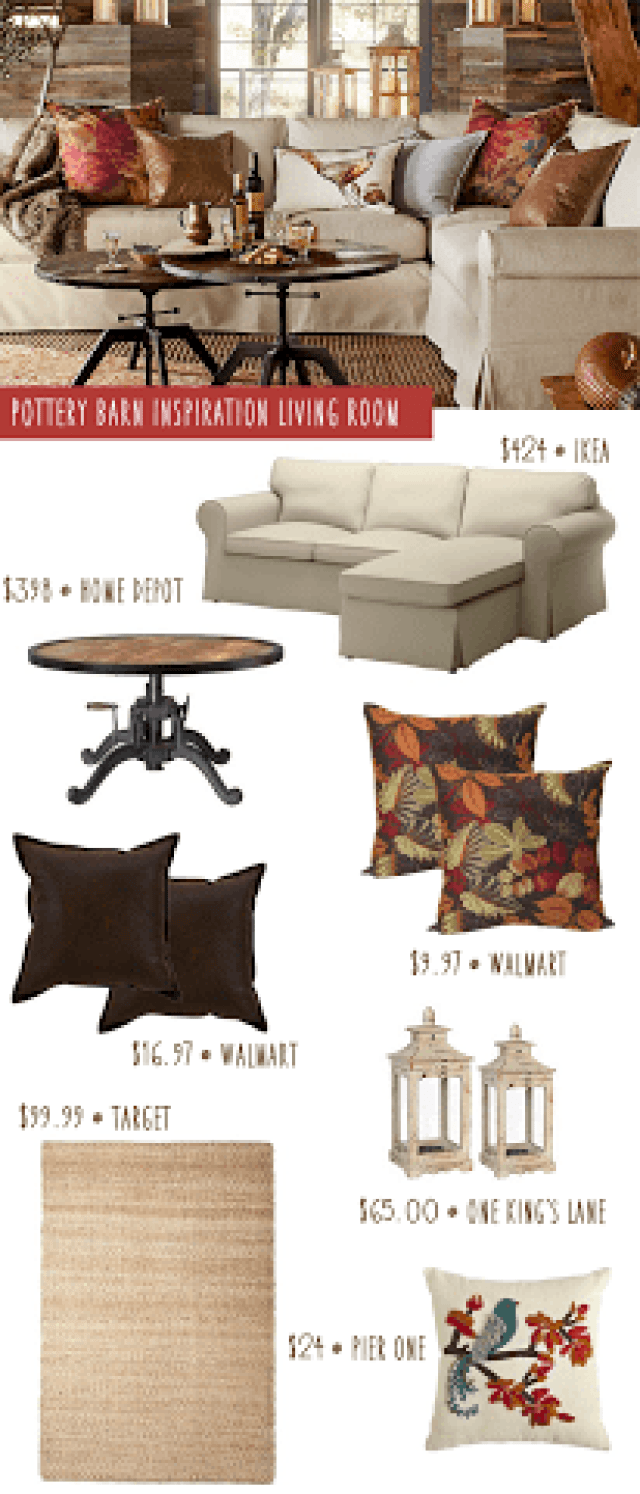 Pottery Barn inspired decor-More with Less Today- Pottery Barn look-a-like living room, copy Pottery Barn decor for less, Pottery Barn look for less