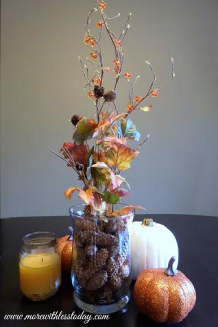 easy autumn centerpiece, how to make an autumn centerpiece for your table, fall table decor, pinecone centerpiece, glass jars centerpiece, autumn decor