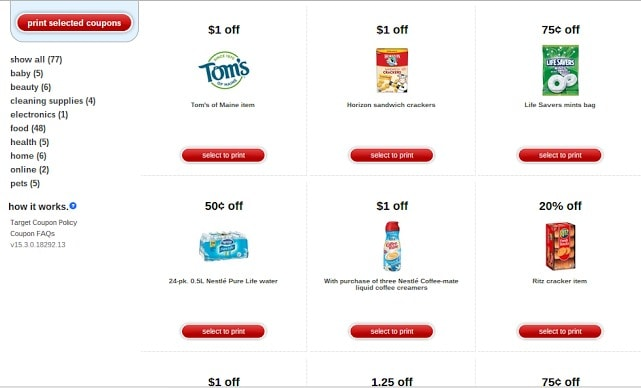 Target printable mobile coupons