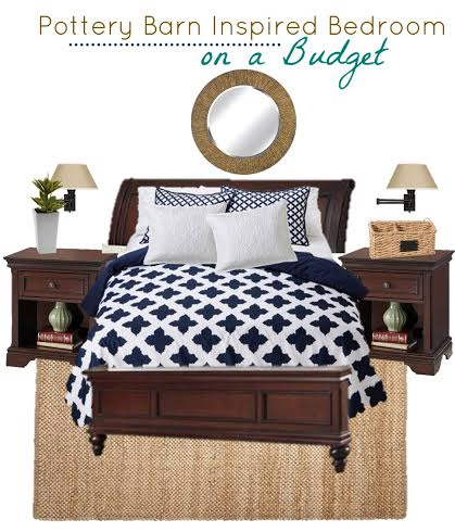 Pottery Barn inspired bedroom on a budget, copycat decor from Pottery Barn, bedroom re-do in navy blue and white, get the look of Pottery Barn on a budget