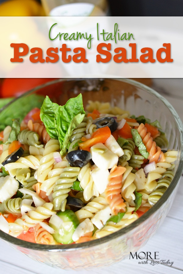 Are you looking for the perfect summer recipe? This Creamy Italian Pasta Salad comes together in just a few minutes and leftovers make a delicious lunch.