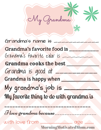 Handmade Gift for Mom - My Mom Printable Page. All About Mom. All About Grandma version too.