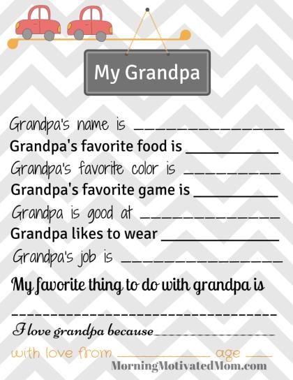 My Grandpa Printable Page