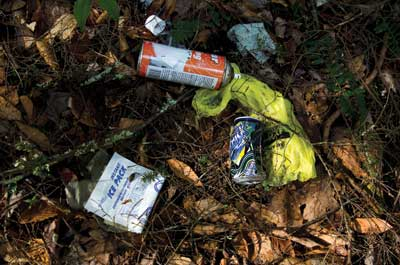 Soda cans and an ice pack laying on the ground