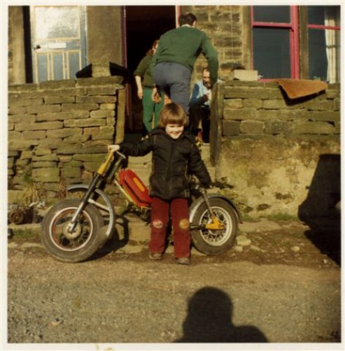 Next to my first motorbike - age 3 - Note the engine is on the floor
