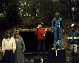 Tasting some podium bubbly in school-boy motocross age 13