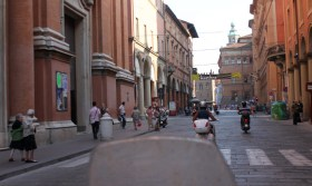 Riding through the center of Bologna was beauiful