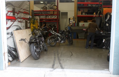 It arrives at the Roland Sands Design Workshop