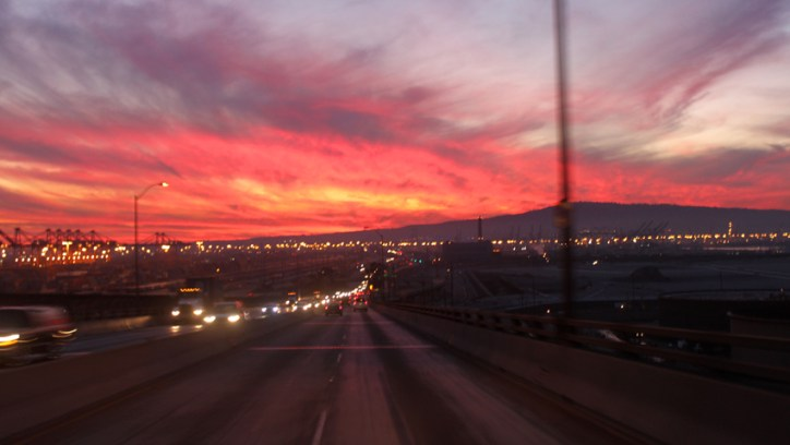 The evening sky as I left Long Beach was spectacular