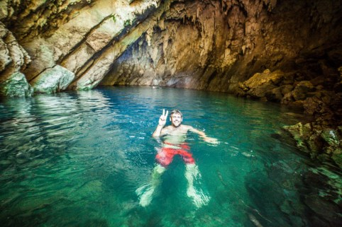 A cave of the purest water and swimming with the bats