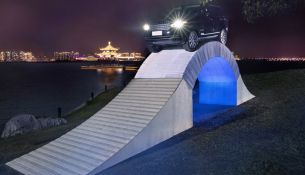 World-first: Range Rover drives over paper bridge in China