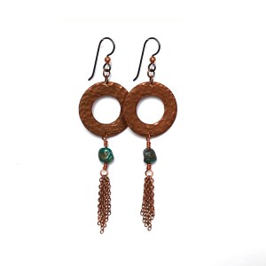 Hammered Copper & Turquoise Tassel Earrings