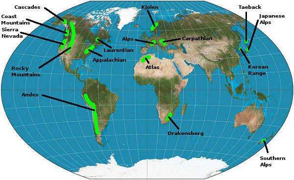 Map Mountain Ranges