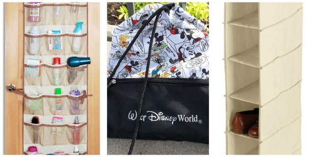 Over the door or over the rack holders and lightweight backpacks for each member of your party will help keep your resort room clean and tidy!