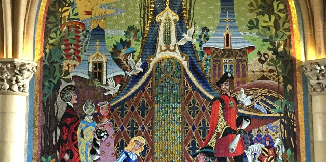 """Inside"" the castle (actually, through the castle) Disney artwork is displayed through amazing mosaics."