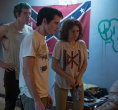State of siege: band members (played by Callum Turner, Anton Yelchin and Alia Shawkat) in the green room