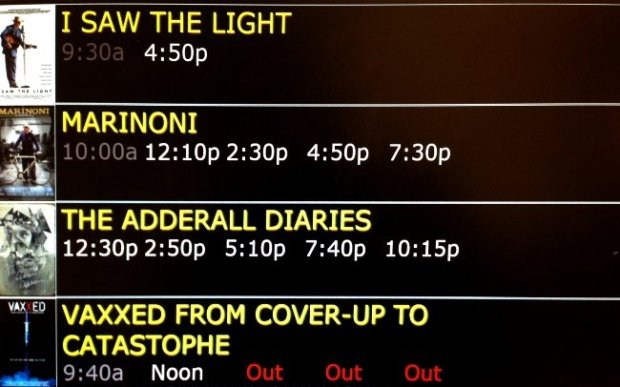 A display at the Laemmle Monica, showing sold-out screenings of Vaxxed